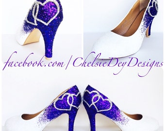 dda8b8e0c178a2 Low Purple Glitter Heels - Eggplant Royal Purple Silver Pumps - Sparkly  Linked Hearts Wedding Heels - Purple Prom Shoes - Glitzy High Heels