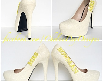 b1f21a41b660 Mrs. Wedding Glitter High Heels - Ivory White Pumps - Sparkly Ivory Wedding  Shoes - Yellow Accent Last Name Heels
