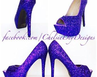 b97b366a9 Purple Glitter High Heels - Royal Purple Peep Toe Pumps - Open Toe Wedding  Shoes - Platform Prom Shoes - Bridesmaid Shoes