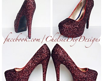 92a9fe46dfd5 Burgundy High Heels - Dark Red Glitter Heels - Maroon Shoes - Sparkly  Wedding Shoes - Wine Red Prom Heels - Glitzy Pumps