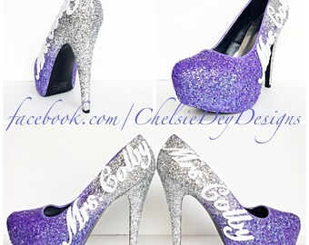 9375402aa2 Purple Glitter High Heels - Lilac Lavender Silver Ombre Pumps - Wedding  Last Name - Sparkly Wedding Shoes