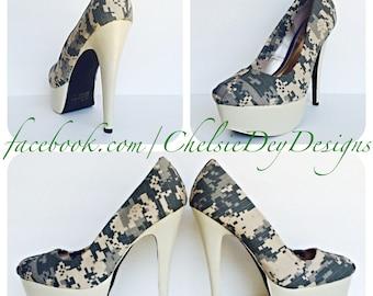 e0f7c12597b Military High Heels - Desert Fatigue Digital Camo Canvas Pump High Heels -  Digi Wedding Shoes