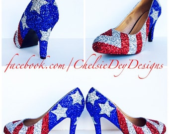 bbecc57f887 American Flag High Heels - Glitter Red White and Blue Miss America Heels - Stars  and Stripes Pumps - Military Wedding Shoes - Prom High Heel