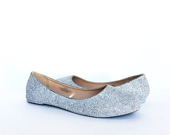 cc63b4221fb1 Silver Flats - Glitter Shoes - Grey Ballet Flats - Sparkly Wedding Shoes -  Silver Prom Shoes - Glitzy Flats - Gray Slip Ons