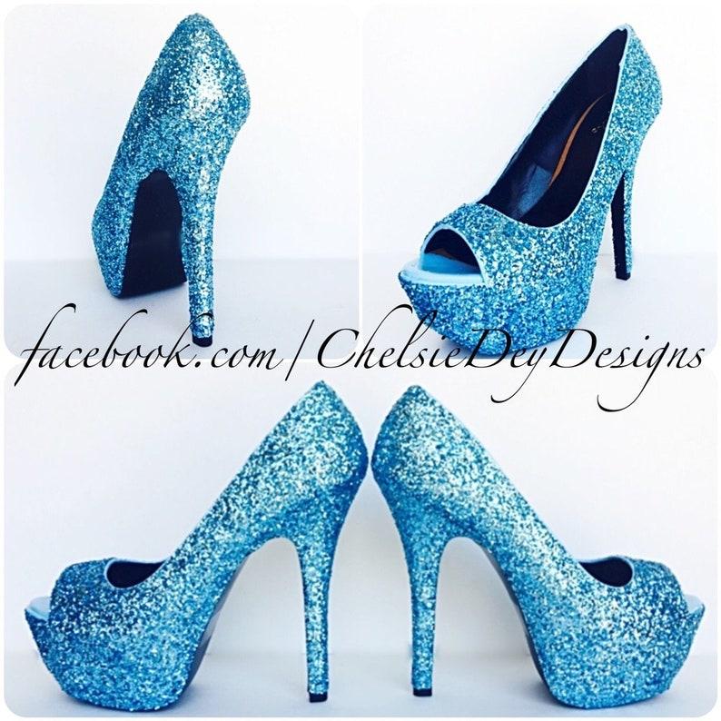 e1bfcf9a0bb Glitter High Heels Malibu Aqua Light Blue Open Peep Toe