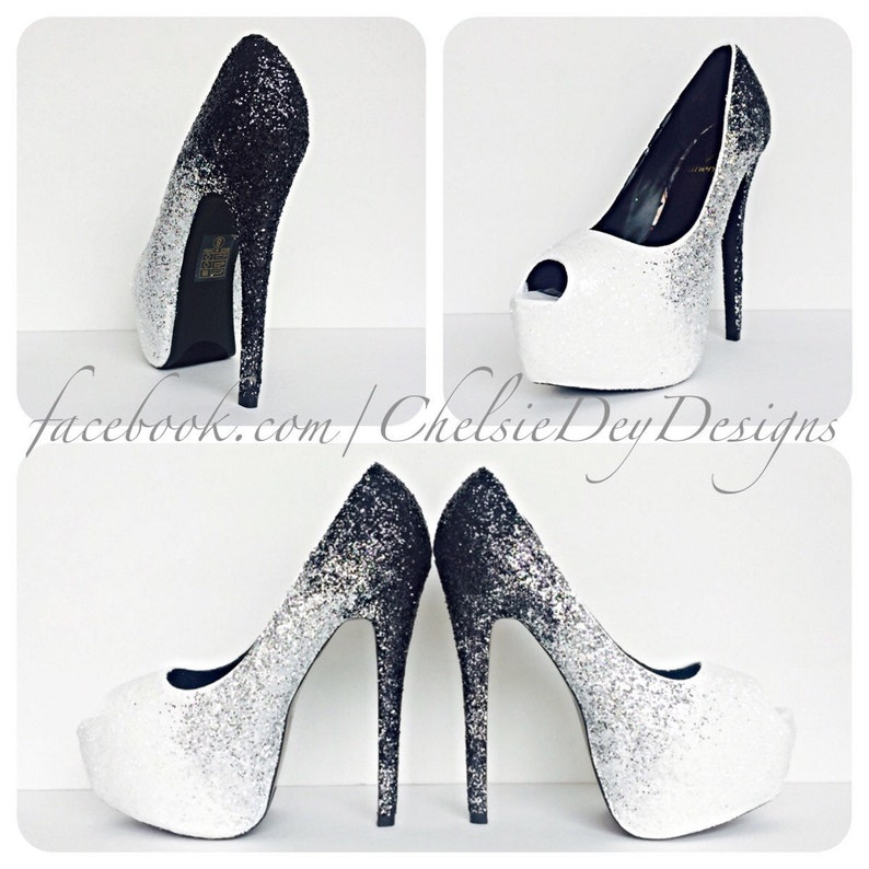 f66cb72014a7 Glitter High Heels Black Silver White Shoes Ombre Peep Toe