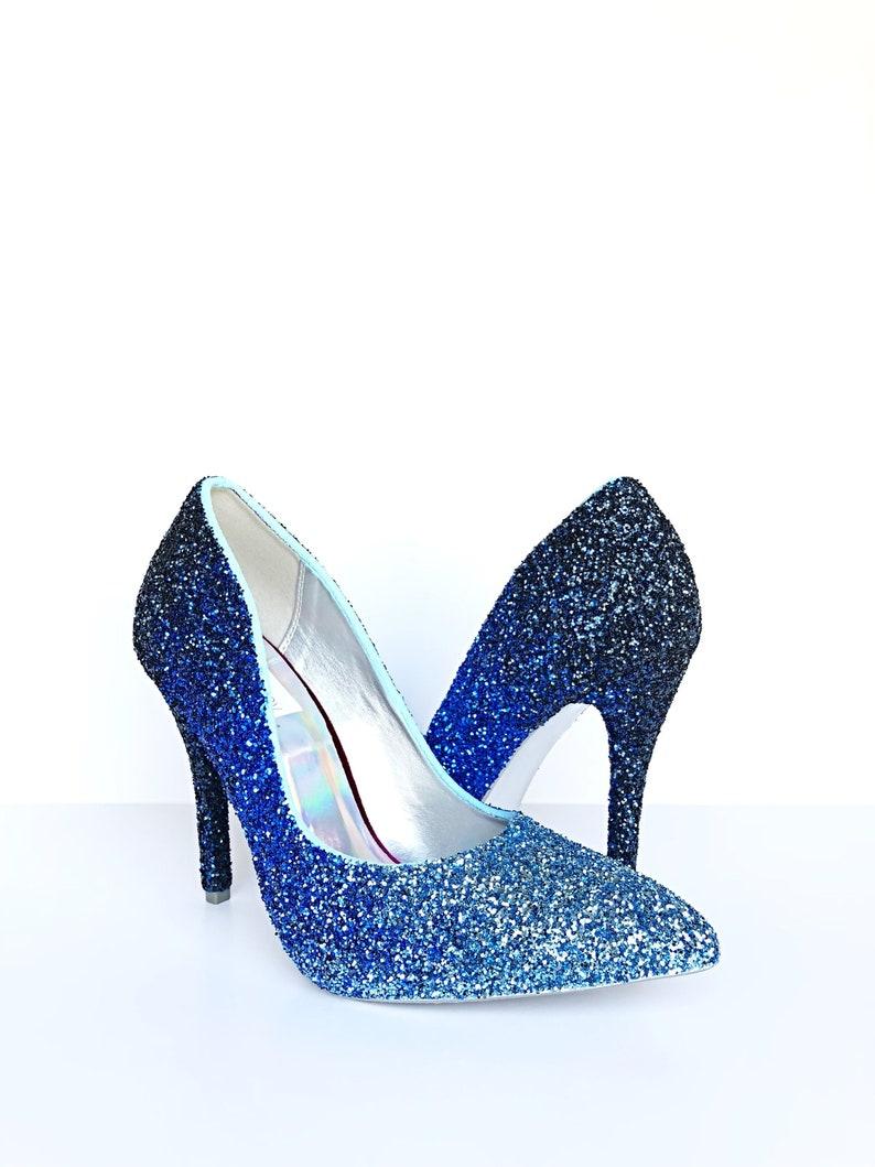 Glitter High Heels Ombre Pointed Toe Pumps Something Blue Shoes Royal Blue Aqua Turquoise Heels Sparkly Wedding Shoes