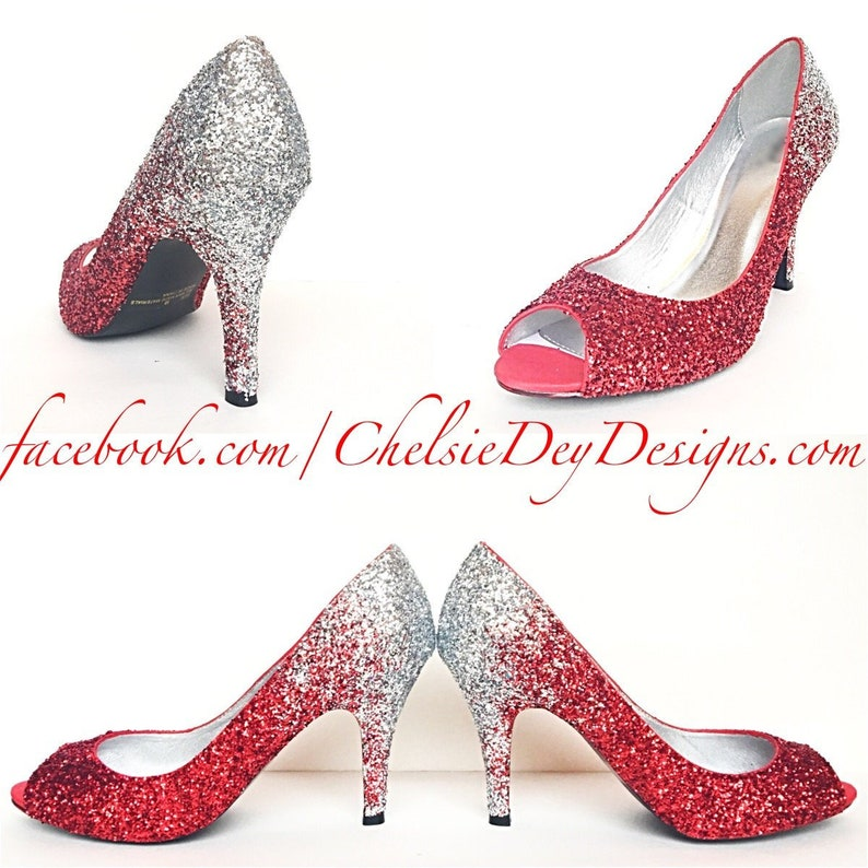 520882c5677 Glitter High Heels Red Peep Toe Pumps Ombre Crimson Silver