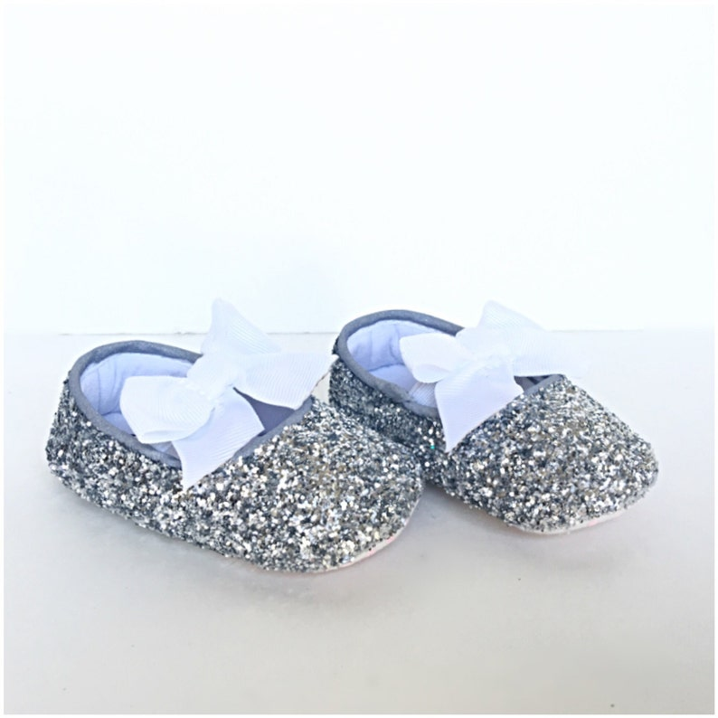 1ffb05e3f8d21 Baby Glitter Shoes - Silver White Booties - Grey Crystal Flats - Gray  Glitzy Baby Slip on Shoes - Flower Girl Shoes - Baby Shower Shoes