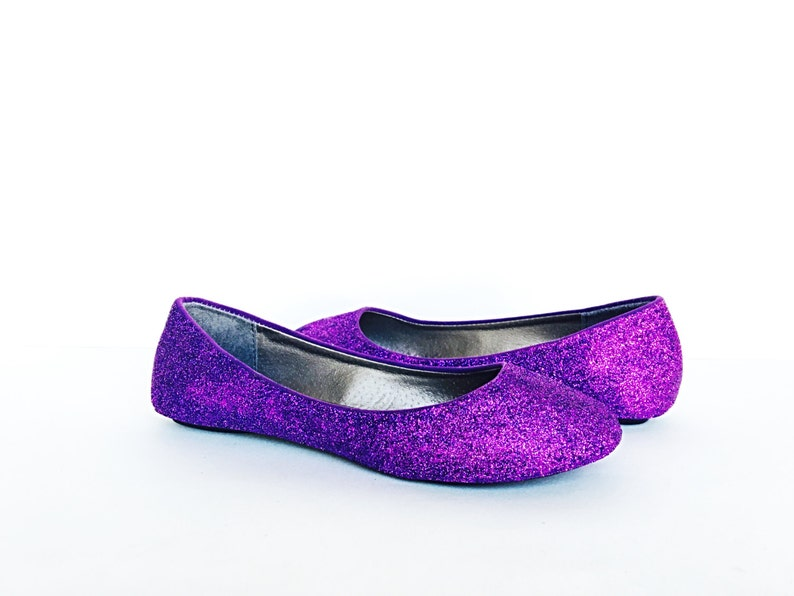 8505cbea8 Purple Flats Glitter Shoes Eggplant Ballet Flats Sparkly | Etsy