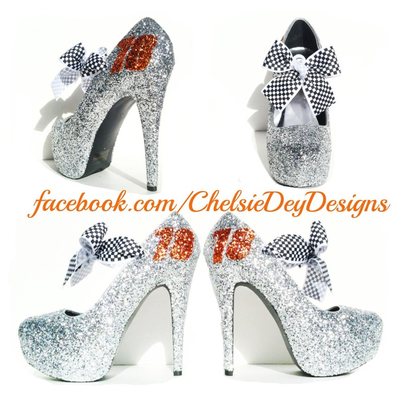 Silver Glitter High Heels Grey Gray Pumps Prom Heels Sparkly Wedding Shoes Silver Satin Bows