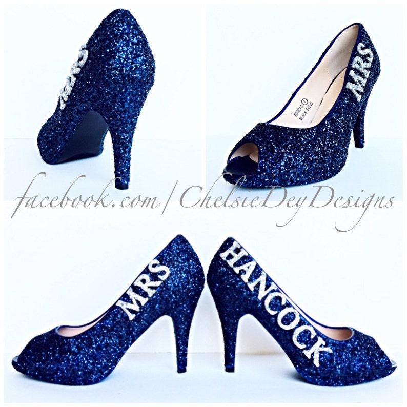 2543e152a25 Glitter High Heels Navy Blue and Silver Peep Toe Pumps