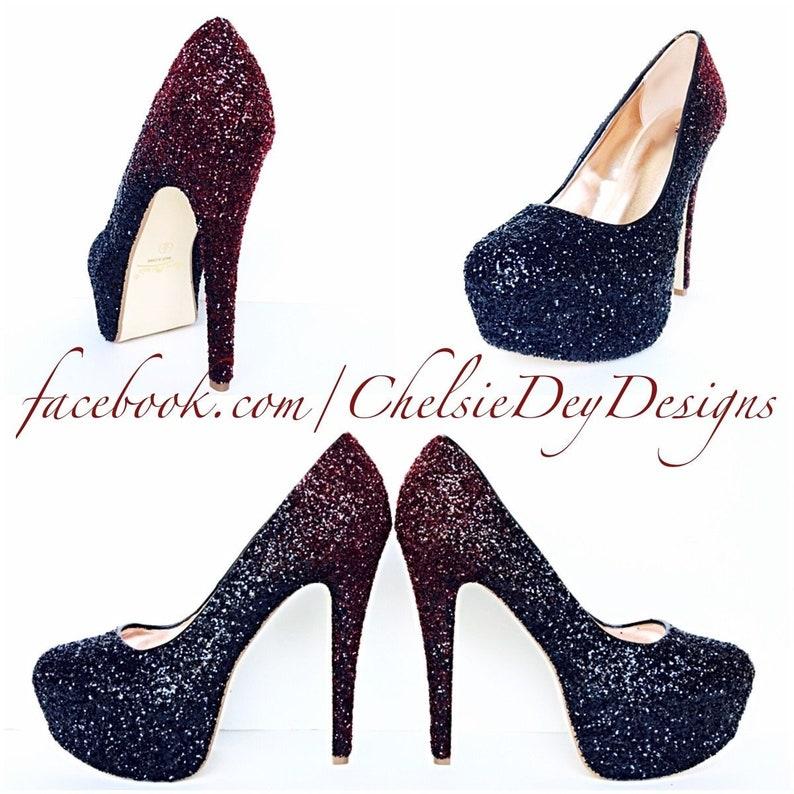 17d2c031926e Burgundy High Heels Dark Red Glitter Heels Maroon Black