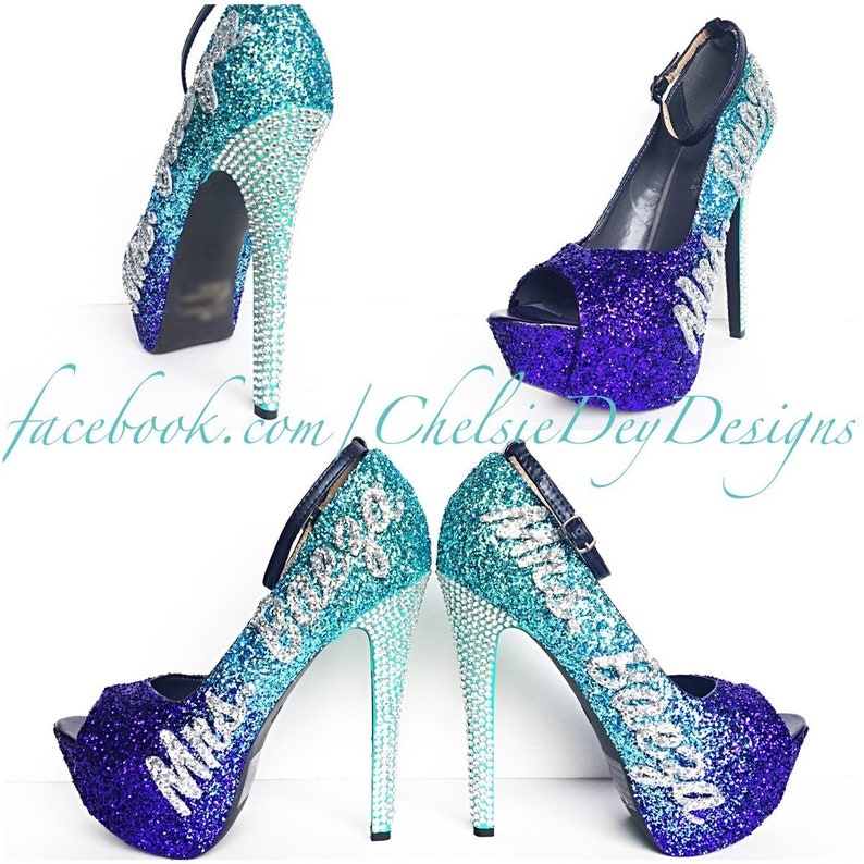 db37adf0c4 Glitter High Heels Tiffany Purple Ombre Pumps Cursive | Etsy