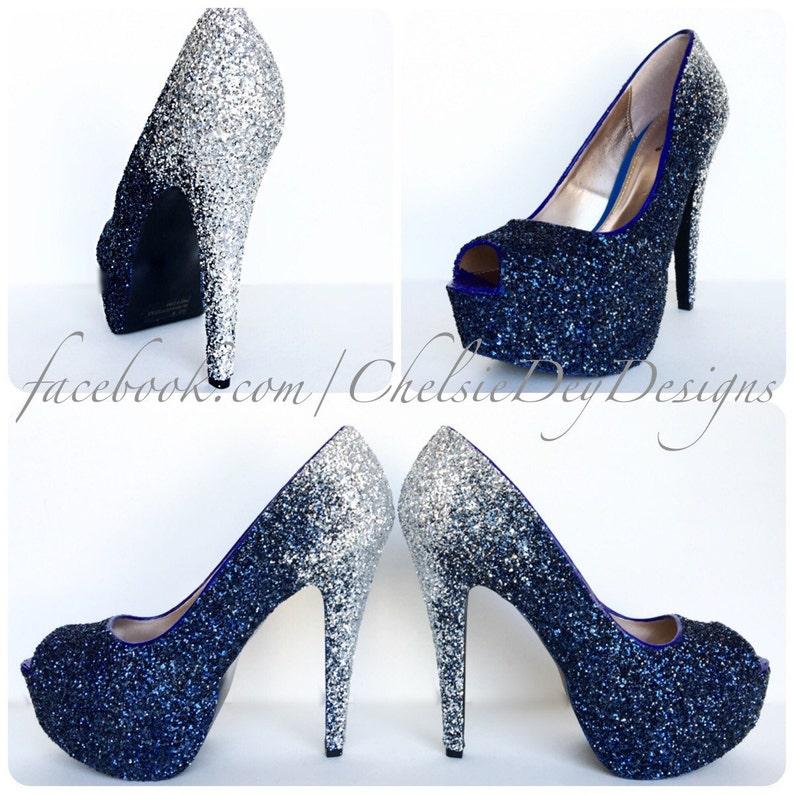 04529b0412 Glitter High Heels - Silver Navy Blue Pumps - Ombre Fade Glitter Peep Toe  Heels - Open Toe Shoes - Something Blue Wedding Shoes