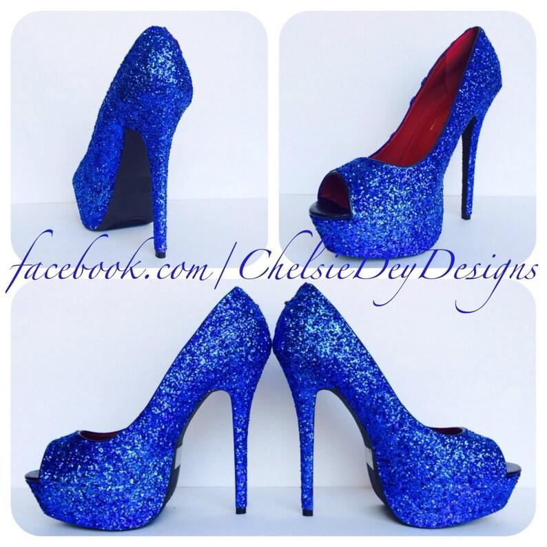 c9a854cba49 Royal Blue Glitter High Heels Blue Open Toe Pumps Peep Toe