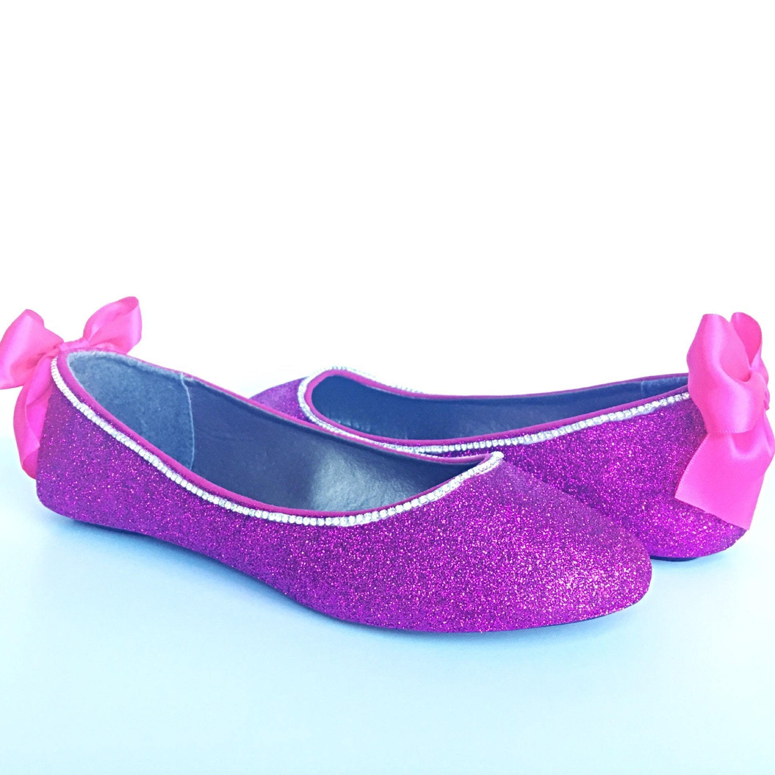pink flats - glitter shoes - magenta ballet flats - sparkly wedding shoes - prom shoes - glitzy flats - royal purple slip ons