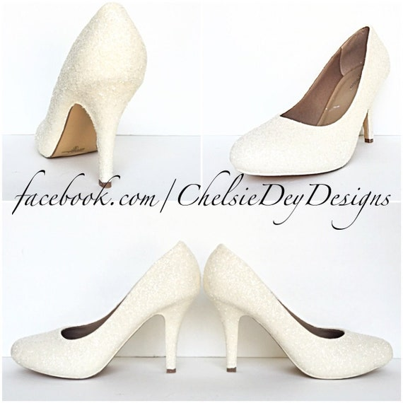 4a469c5cb89 Ivory Glitter High Heels - Off White Wedding Pumps - Sparkly Wedding Shoes  - Glitzy Prom Heels