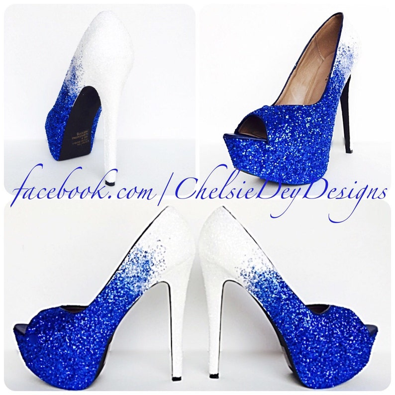 dfe51453f51 Glitter High Heels White Royal Blue Pumps Ombre Fade