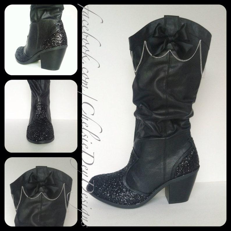 15214df9dd2 Glitter Cowboy Boots - Black Vegan Leather - Cowgirl Boots