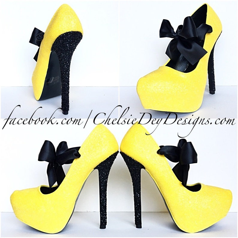 6765c012e50 Yellow High Heels, Black and Yellow Glitter Pumps, Yellow Wedding Shoes