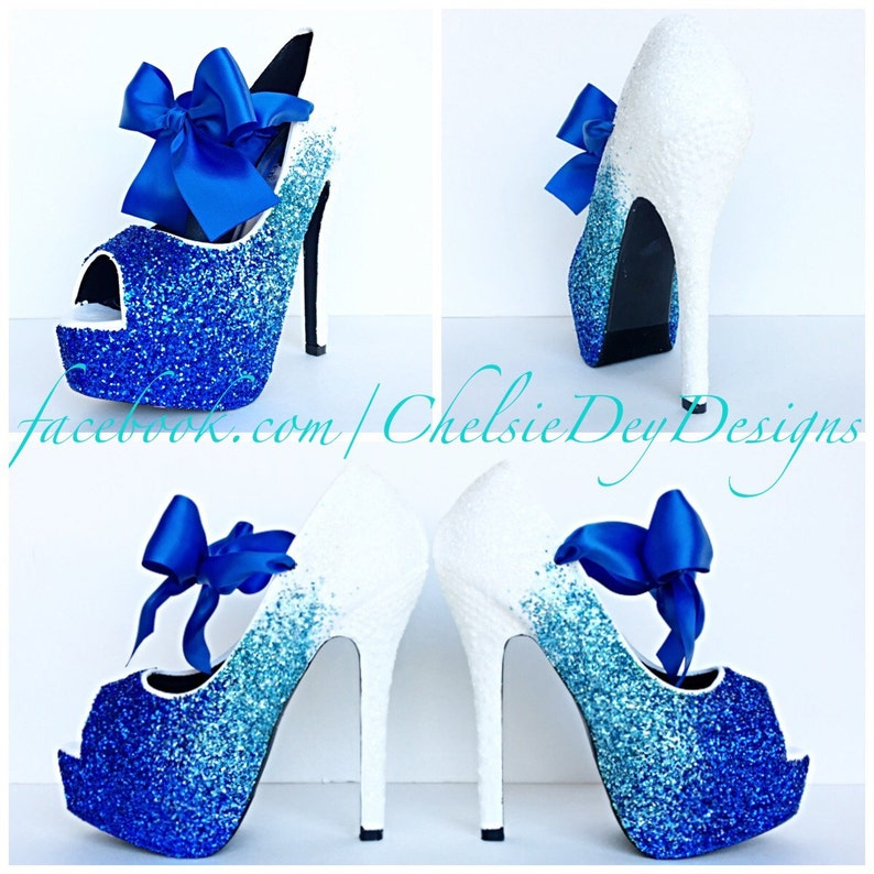 4b0a4847278 Glitter High Heels Royal Blue Robins Egg White Ombre Peep