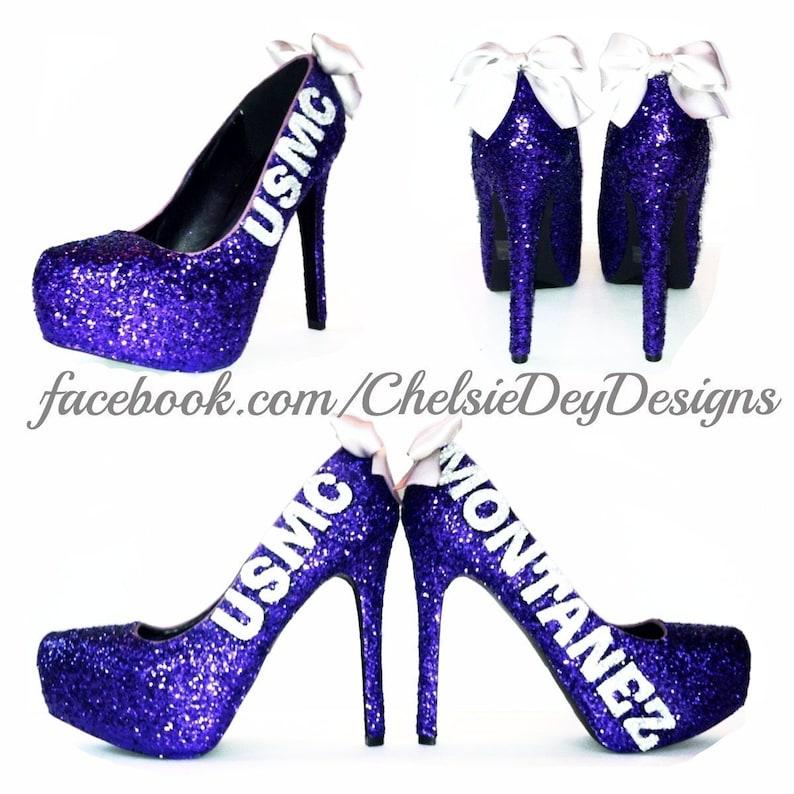 36598c4f4909 USMC High Heels Marine Glitter ShoesPurple Royal Eggplant