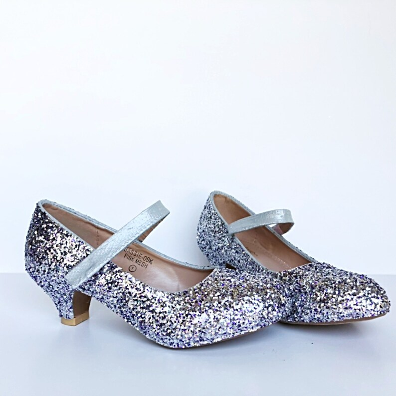 sports shoes cec13 2e7d0 Toddler Glitter Shoes Silver Lilac Mix Kids Girls Heel   Etsy