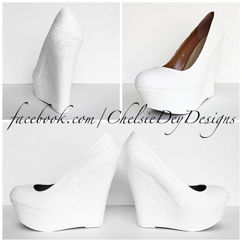 57552cdd1 White Glitter Wedges Sparkly Platform Heel Glitzy Wedding