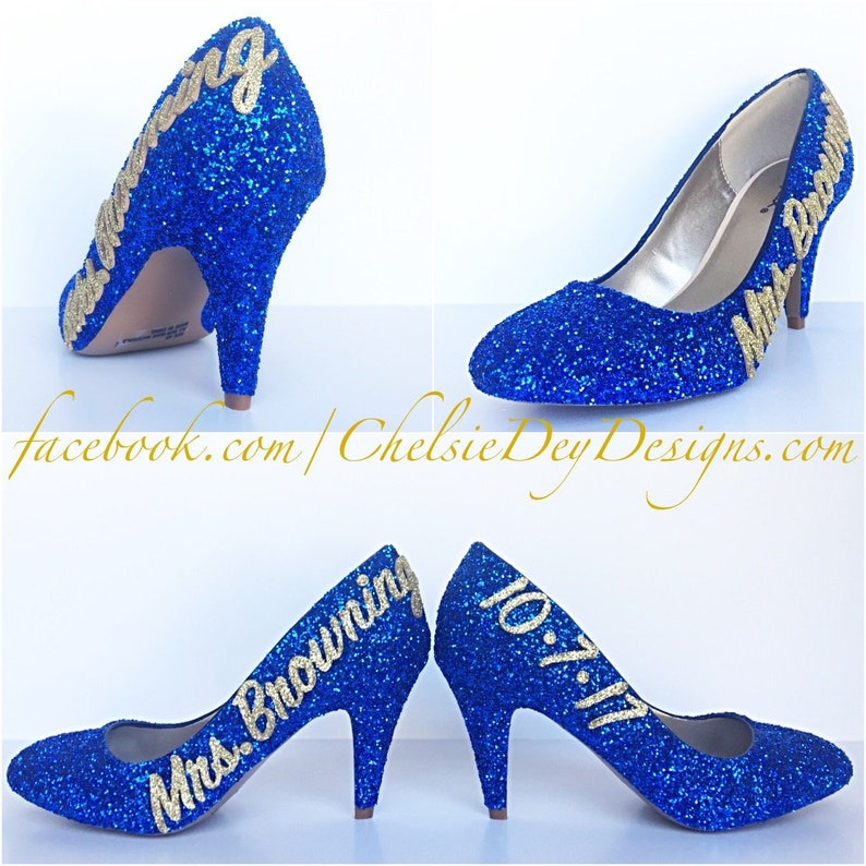 Glitter High Heels Royal Blue Gold Champagne Pumps Sparkly Wedding Name Date Shoes Bridal Heels