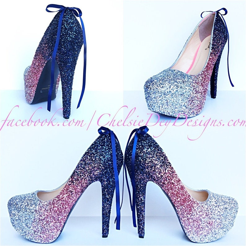 40f2d20edf3 Glitter High Heels Light Pink Pumps Navy Blue Silver Ombre