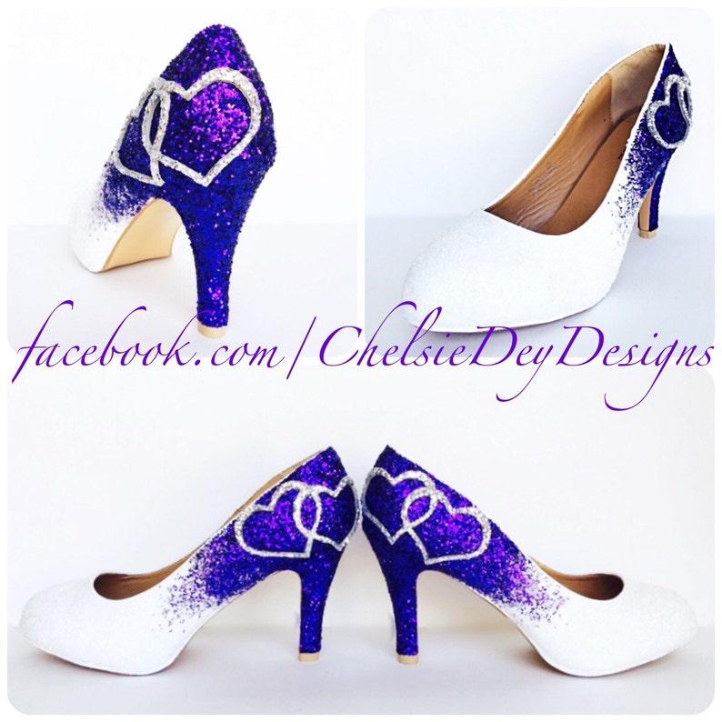d51d17acbe6a Low Purple Glitter Heels Eggplant Royal Purple Silver Pumps