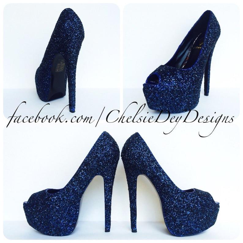 aacb3b499ef Glitter High Heels Navy Blue Pumps Dark Blue Peep Toe