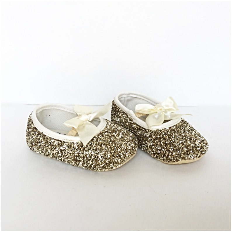 122da6ab50f11 Baby Glitter Shoes - Gold Booties - Champagne Crystal Flats - Glitzy Ivory  Baby Slip on Shoes - Flower Girl Shoes - Baby Shower Shoes