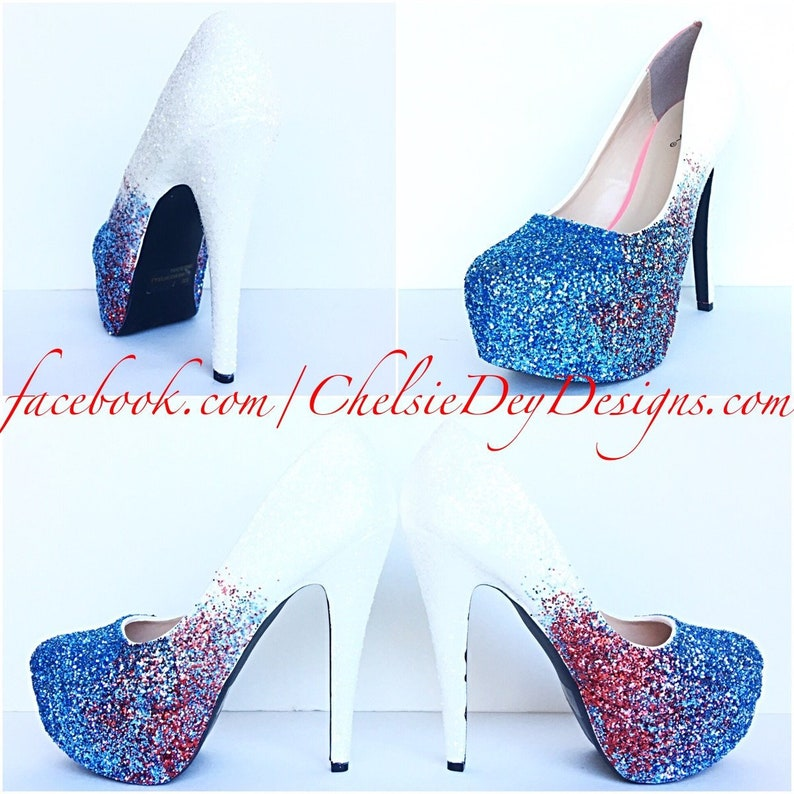 1511bec21bd40 Glitter High Heels - Blue White Pumps -Aqua Turquoise Red Ombre Platform  Shoes - Fade Two Tone Heels - Sparkly Glitzy Wedding Heels