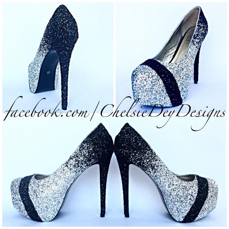 f8f5f32d78b Glitter High Heels Silver Black Ombre Pumps Sparkly