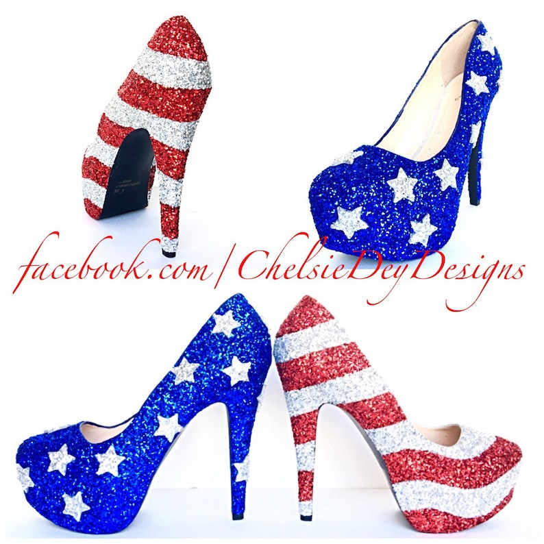 c280e01d891 American Flag High Heels Glitter Red White and Blue Miss