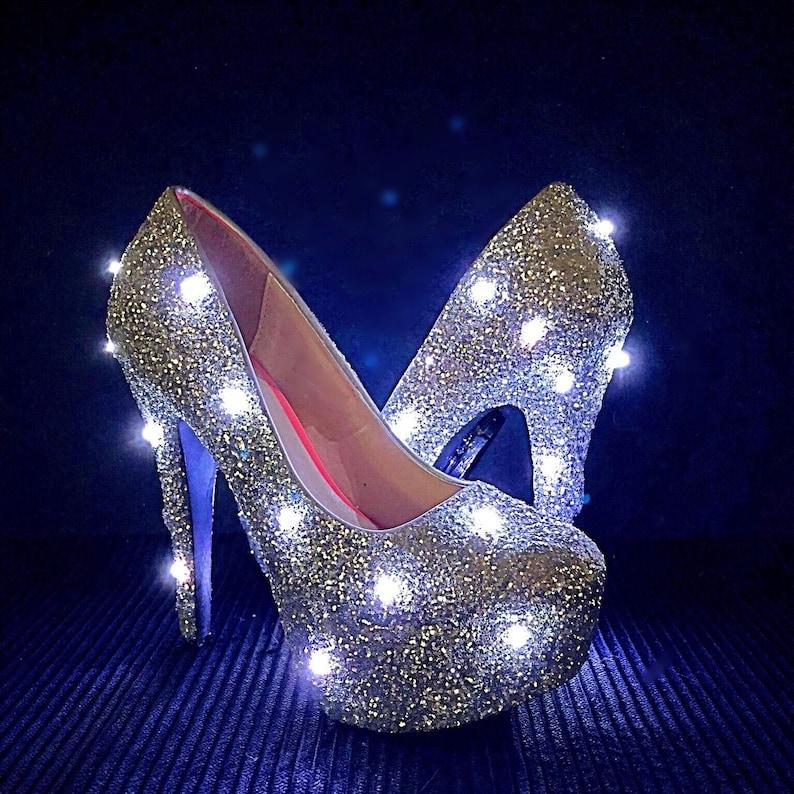 0327aadf2e2 Light Up Glitter High Heels - Glow in the Dark Silver Pumps - Rave EDM EDC  Festival Shoes - LED Wedding Heels