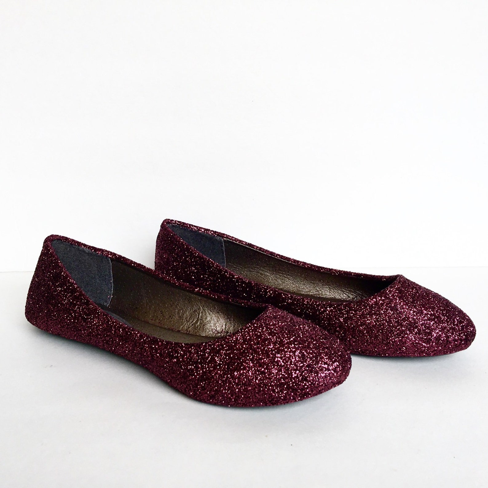 burgundy flats - dark red glitter shoes - maroon ballet flats - sparkly wedding shoes - red prom shoes - glitzy flats - wine red