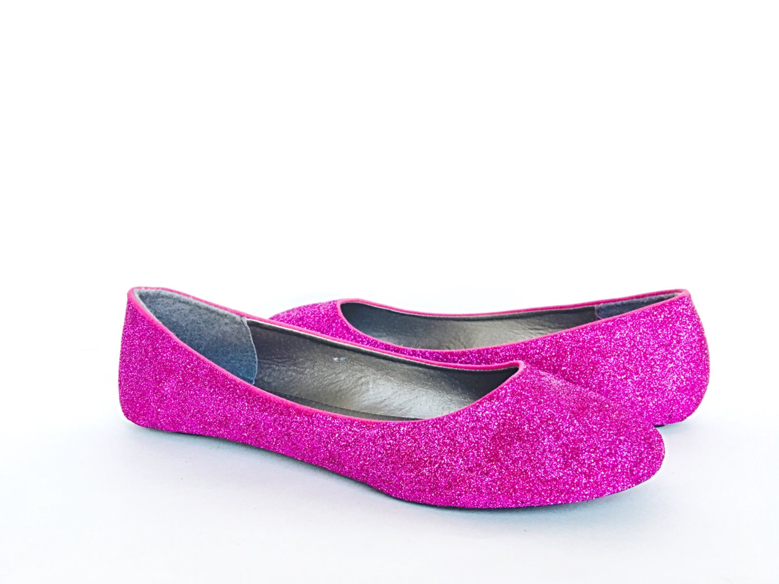 pink flats - glitter shoes - fuchsia ballet flats - sparkly wedding shoes - magenta prom shoes - hot pink glitzy flats - glitter