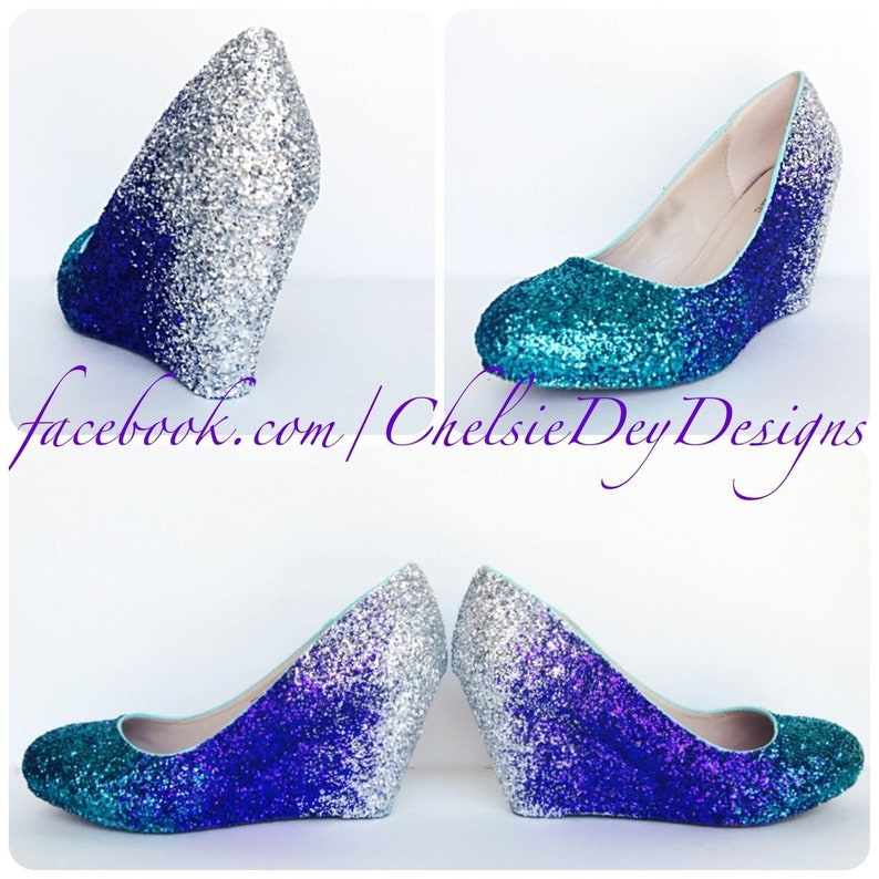 793db042350c Glitter Wedges Teal Silver Sparkly Ombre Low Heel Purple