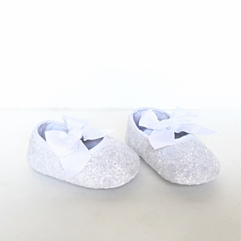 8238107a2cd28 Baby Glitter Shoes - White Booties - Crystal Flats - Glitzy Baby Slip on  Shoes - Flower Girl Shoes - Baby Shower Shoes