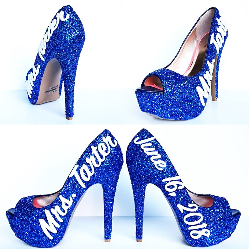 76c3f062baa Glitter High Heels Royal Blue Pumps Wedding Glitter Peep