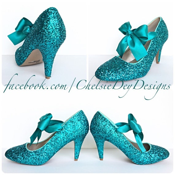 Teal Glitter High Heels Aqua Turquoise Blue Pumps Sparkly  c19f7926867c