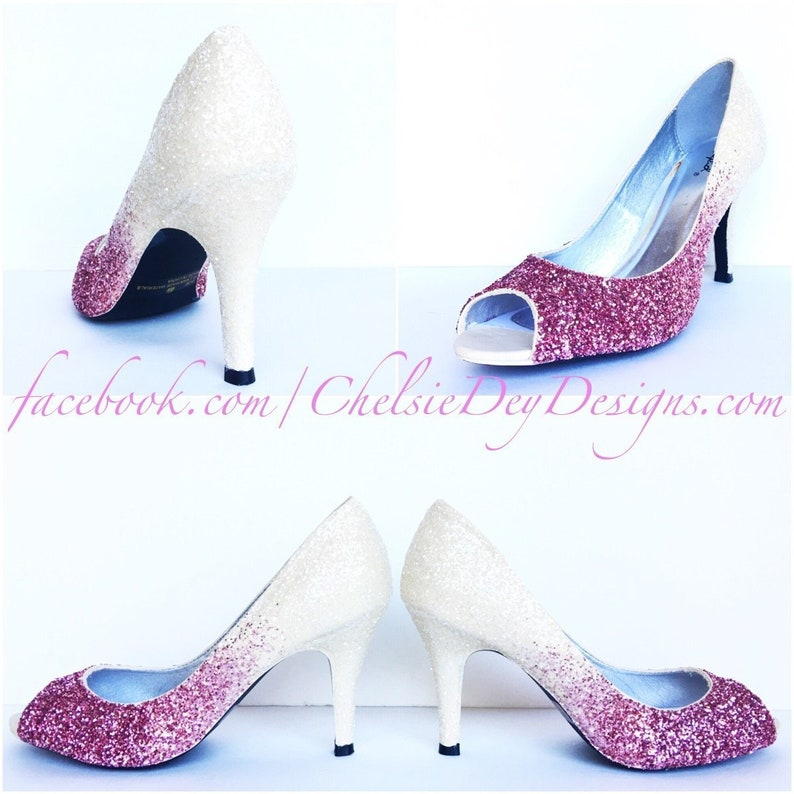 dc88f6f9438d Glitter High Heels Light Baby Pink Ivory White Ombre Peep
