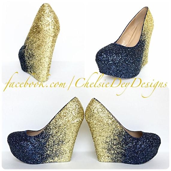4471113adac9 Navy Blue Wedge Glitter Heels Dark Blue Gold Platform Shoes