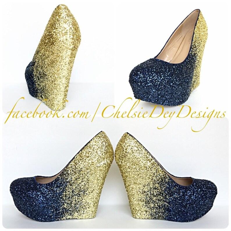 994bb0d9b601 Navy Blue Wedge Glitter Heels Dark Blue Gold Platform Shoes