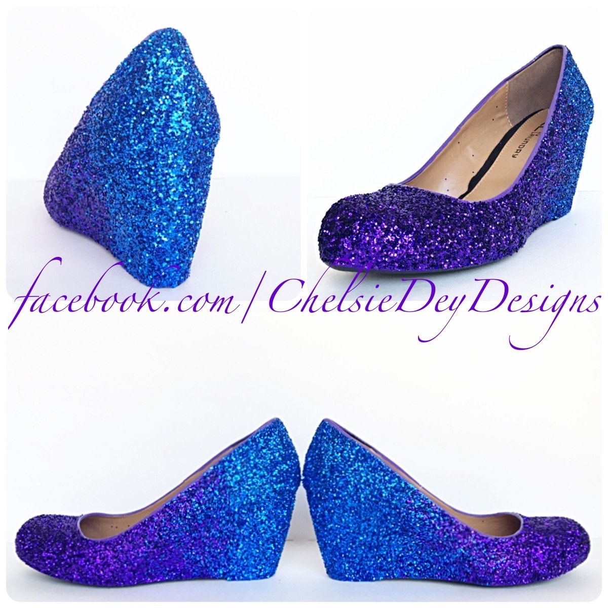 1d998eb23b62 Glitter Wedges Purple Blue Sparkly Ombre Low Heel Royal