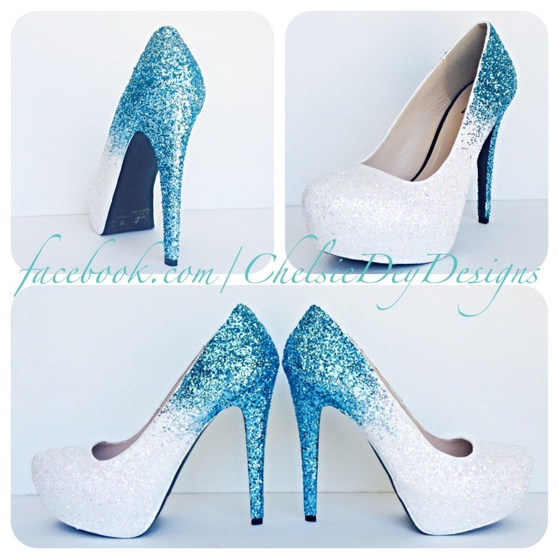 1f13ca649f7 Glitter High Heels - Blue and White Pumps -Aqua Turquoise Ombre Platform  Shoes - Fade Two Tone Heels - Sparkly Glitzy Wedding Heels