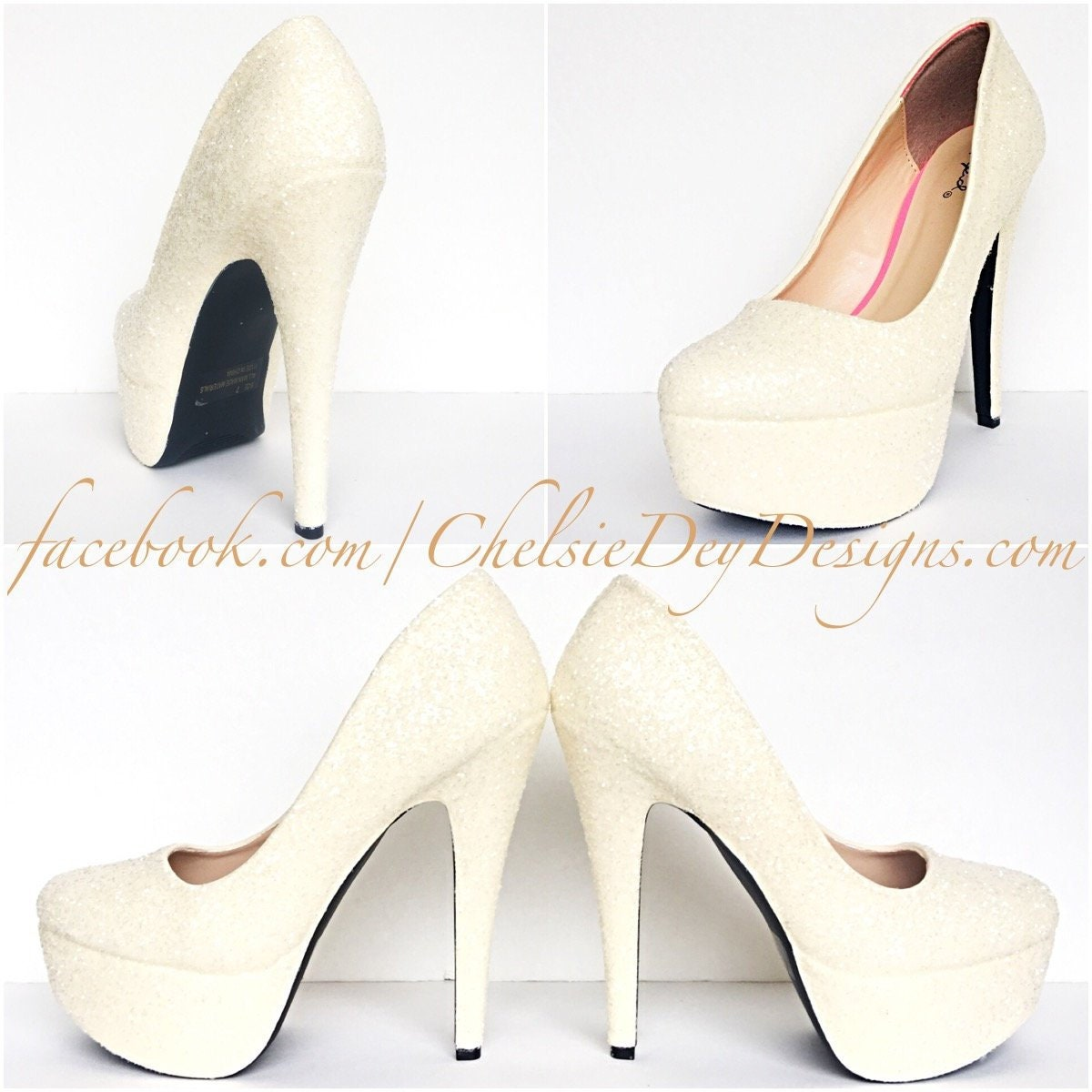 2b640552d8a Ivory Glitter High Heels Off White Wedding Pumps Sparkly